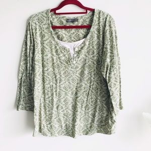 🎀Classic Editions XL Green White Top